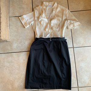 Belted Two-tone Fitted Dress